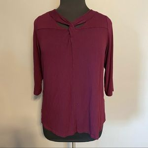 CHRISTOPHER & BANKS twist open neck blouse sz XL